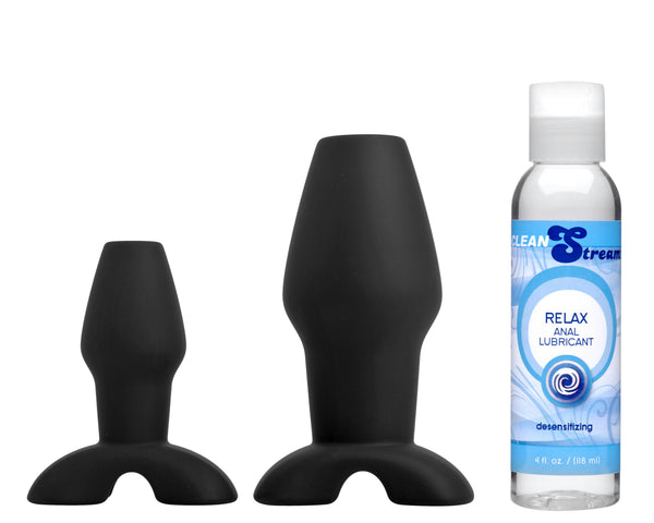 Hollow Anal Plug Trainer Set with Desensitizing Lube - Fun and Kinky Sex Toys