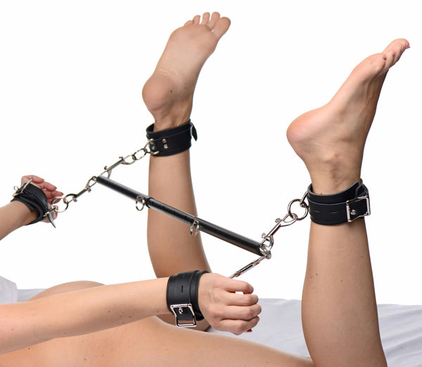 Black Doggy Style Spreader Bar Kit with Cuffs - Fun and Kinky Sex Toys