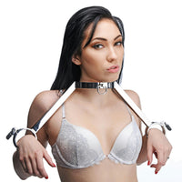 At Your Mercy Stainless Steel Neck to Wrist Restraints - Fun and Kinky Sex Toys
