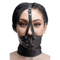Leather Neck Corset Harness with Stuffer Gag - Fun and Kinky Sex Toys