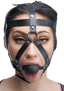 Leather Head Harness with Ball Gag - Fun and Kinky Sex Toys