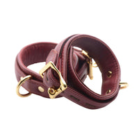 Strict Leather Luxury Burgundy Locking Wrist Cuffs - Fun and Kinky Sex Toys