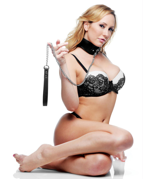 Padded Locking Posture Collar with Leash - Fun and Kinky Sex Toys