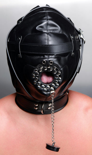 Sensory Deprivation Hood with Open Mouth Gag - Fun and Kinky Sex Toys