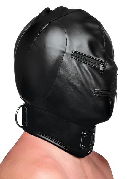 Bondage Hood with Posture Collar and Zippers - Fun and Kinky Sex Toys