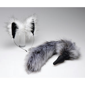 Grey Wolf Tail Anal Plug and Ears Set - Fun and Kinky Sex Toys