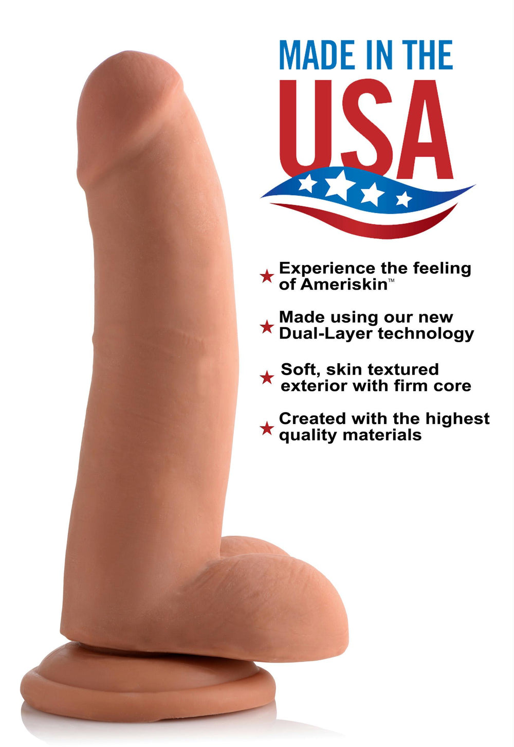 8 Inch Ultra Real Dual Layer Suction Cup Dildo- Medium Skin Tone - Fun and Kinky Sex Toys