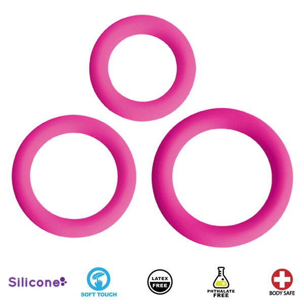 Love Ring Trio Silicone Cock Rings - Fun and Kinky Sex Toys