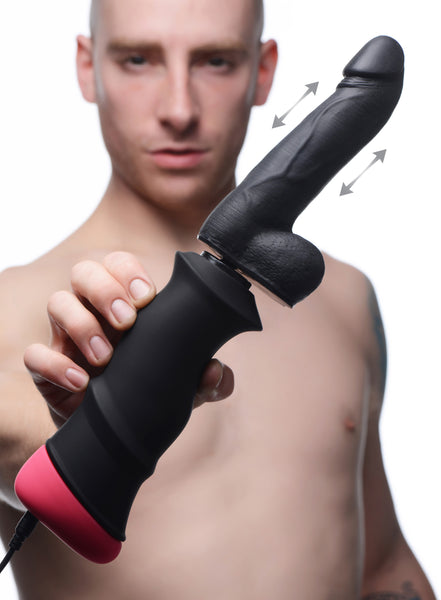 Mega-Pounder Hand-held Thrusting Silicone Dildo - Fun and Kinky Sex Toys