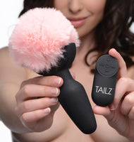 Remote Control Vibrating Pink Bunny Tail Anal Plug - Fun and Kinky Sex Toys