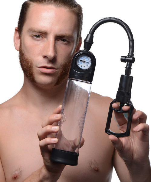 Trigger Penis Pump with Built-in Pressure Gauge - Fun and Kinky Sex Toys