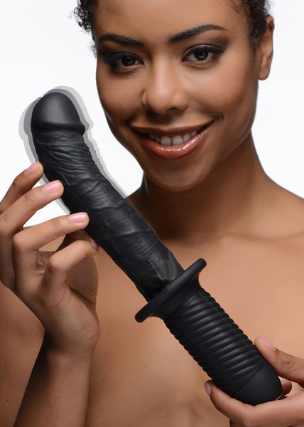 The Large Realistic 10X Silicone Vibrator with Handle - Fun and Kinky Sex Toys