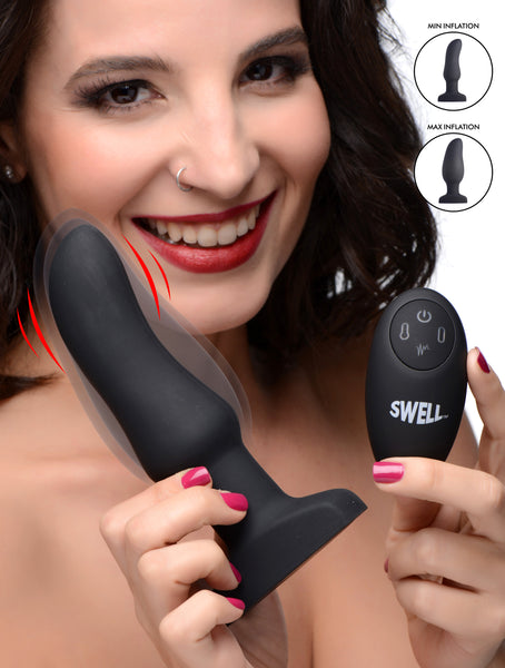 Worlds First Remote Control Inflatable 10X Vibrating Curved Silicone Anal Plug - Fun and Kinky Sex Toys