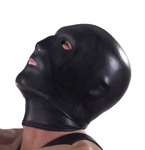 Black Hood with Eye Mouth and Nose Holes - Fun and Kinky Sex Toys