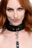 Isabella Sinclaire 3 Ring Leather Collar with Leash - Fun and Kinky Sex Toys