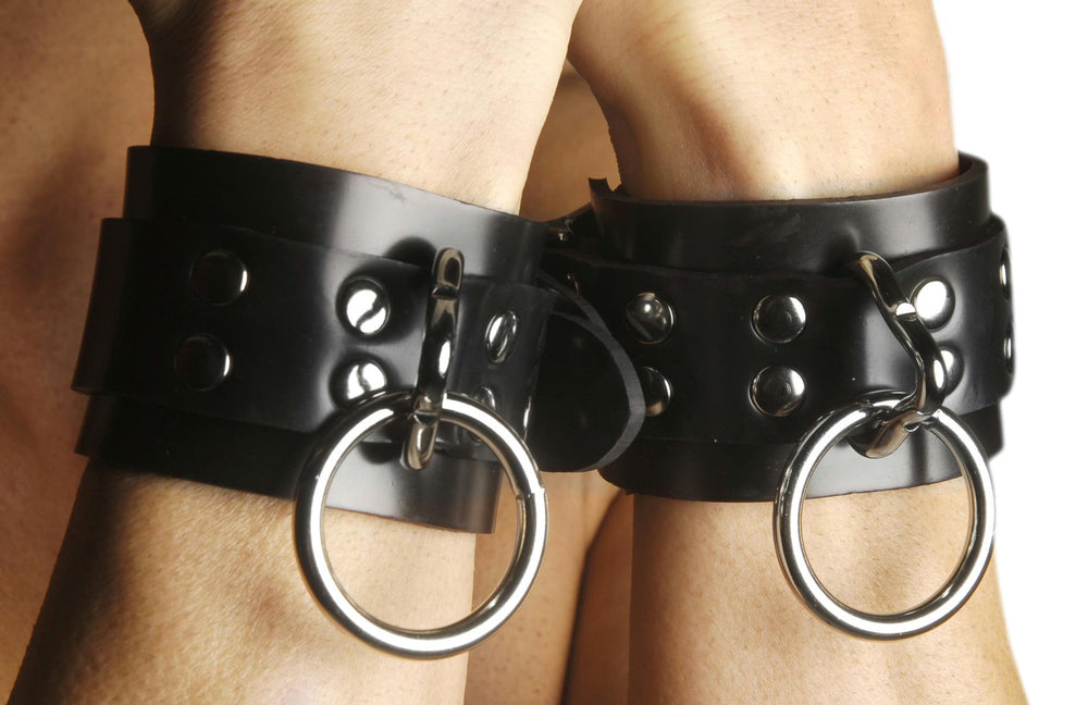 Strict Leather Locking Rubber Wrist Restraints - Fun and Kinky Sex Toys