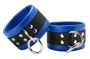 Blue Mid-Level Leather Wrist Restraint - Fun and Kinky Sex Toys