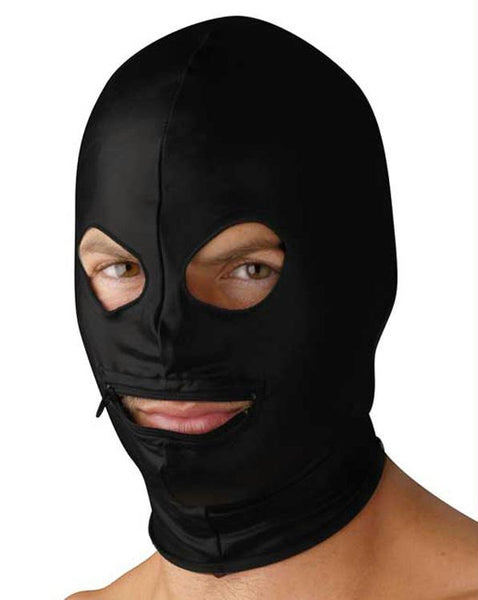 Spandex Zipper Mouth Hood with Eye Holes - Fun and Kinky Sex Toys