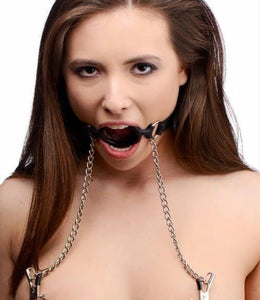 Mutiny Silicone O-Ring Gag with Nipple Clamps - Fun and Kinky Sex Toys