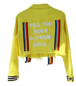 FILL THE HOLE IN YOUR SOUL CROPPED DENIM JACKET
