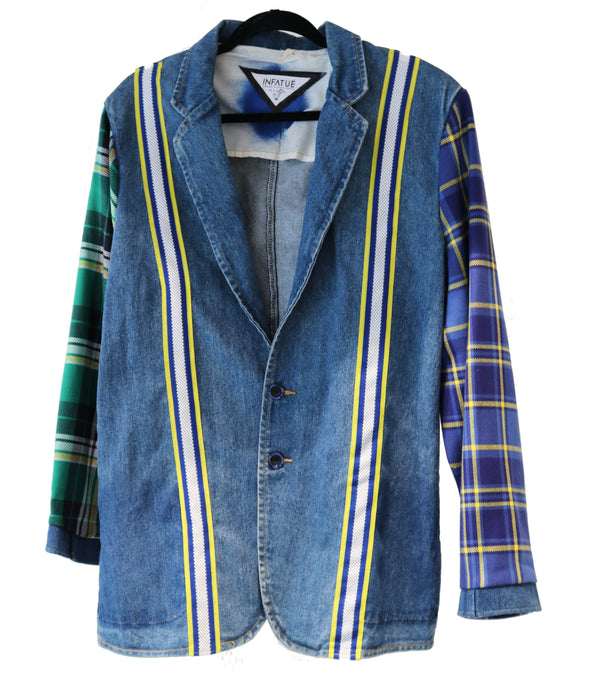 Multi Flannel Denim Blazer