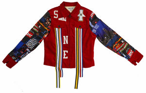 333 City Nights Red Zip Up Jacket