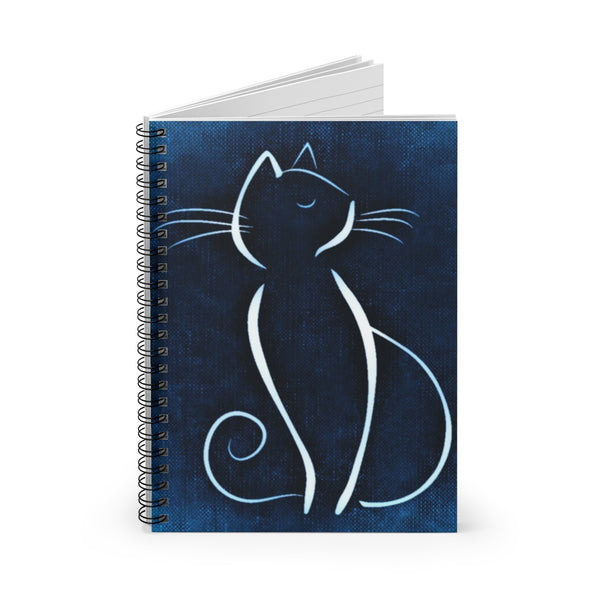 Blue Cat Spiral Notebook - Ruled Line