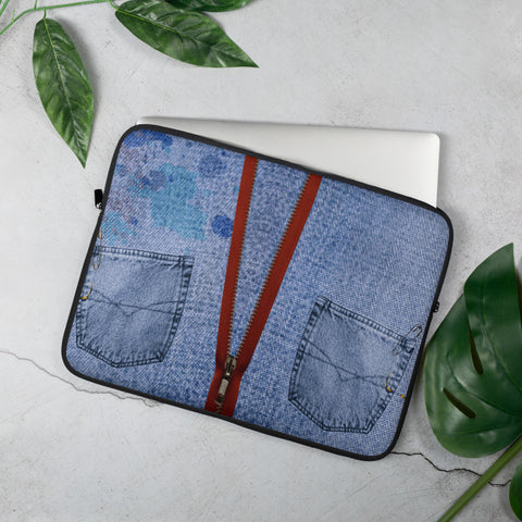 Denim Design Laptop Sleeve - 15 in