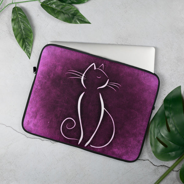 Pink Cat Laptop Sleeve - 15 in