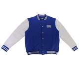 Blue white varsity jacket