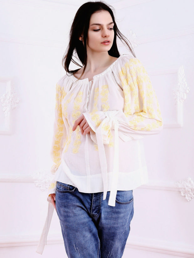 Cherry Blossom Blouse - Ecru-Colored Fabric-FLORII-XS-Buttery Yellow