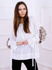 Tree of Life Blouse - Ecru-Colored Fabric-FLORII-XS-Cappuccino