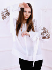Tree of Life Blouse - White-Colored Fabric-FLORII-XS-Cappuccino