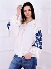 Tree of Life Blouse - White-Colored Fabric-FLORII-XS-Petrol