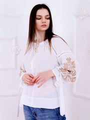 Tree of Life Blouse - White-Colored Fabric-FLORII-