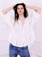 'I Love You' Blouse - White-Colored Fabric-FLORII-XL-White/Golden Thread