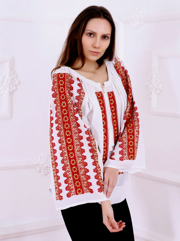 Flower Path Blouse - White-Colored Fabric-FLORII-XL-Milano Red/Mustard Yellow