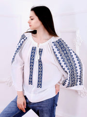 Flower Path Blouse - Ecru-Colored Fabric-FLORII-
