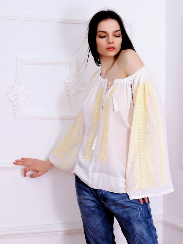 Flower Path Blouse - Ecru-Colored Fabric-FLORII-XL-Buttery Yellow/Ecru