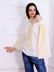 Flower Path Blouse - White-Colored Fabric-FLORII-XL-Buttery Yellow/White