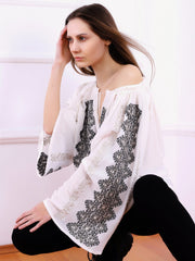 Magnifique Blouse - Ecru-Colored Fabric-FLORII-