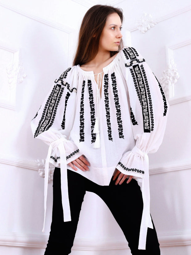 Sibiu Blouse - White-Colored Fabric-FLORII-XS-Black-Golden-Thread