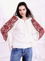 Infinity Blouse - White-Colored Fabric-FLORII-XS-Marsala Red/Golden Thread