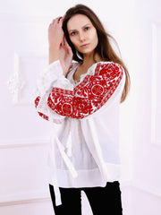 Infinity Blouse - White-Colored Fabric-FLORII-