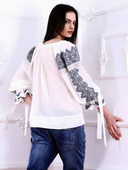 Royal Blouse - White-Colored Fabric-FLORII-