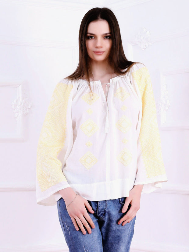 Banat Blouse - White-Colored Fabric