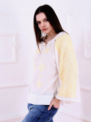 Banat Blouse - Ecru-Colored Fabric-FLORII-