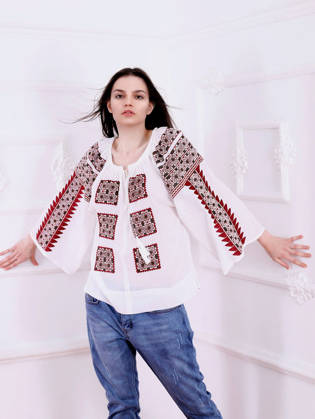 Beauty Emergence Blouse - Ecru-Colored Fabric-FLORII-