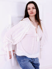 Roses Blouse - White-Colored Fabric