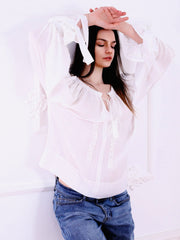 Roses Blouse - White-Colored Fabric-FLORII-XS-White